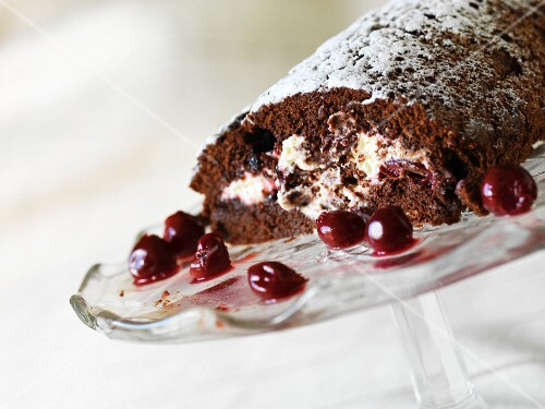 Gluten-free chocolate cherry roulade