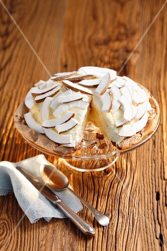 Coconut ice cream torte, one slice served