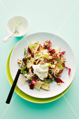 Sauerkraut salad with walnuts and sour cream