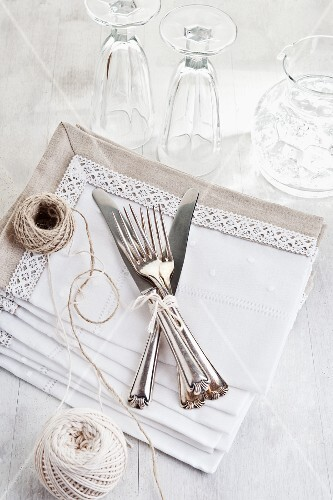 Cutlery on a white table