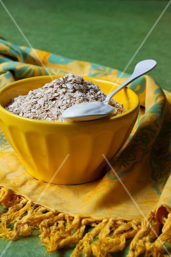 Oats and spoonful of yoghurt