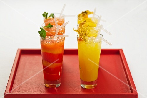 Red and yellow fruit cocktails