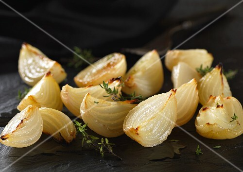 cippolini onions roasted with thyme