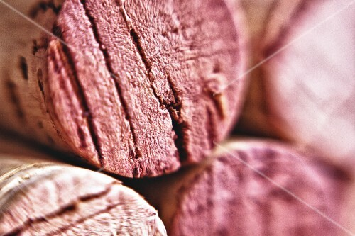 Red wine corks (close-up)