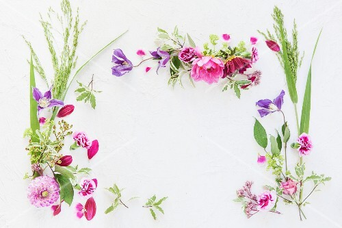 An arrangement of flowers forming a frame