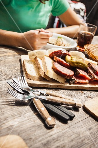 Platter of meats, breads and antipasti