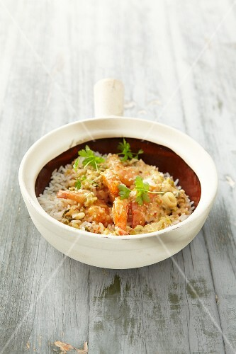 Prawn curry with coconut on rice