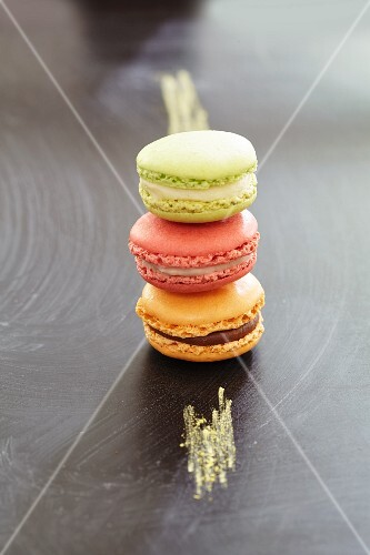 Three macaroons on a chalkboard