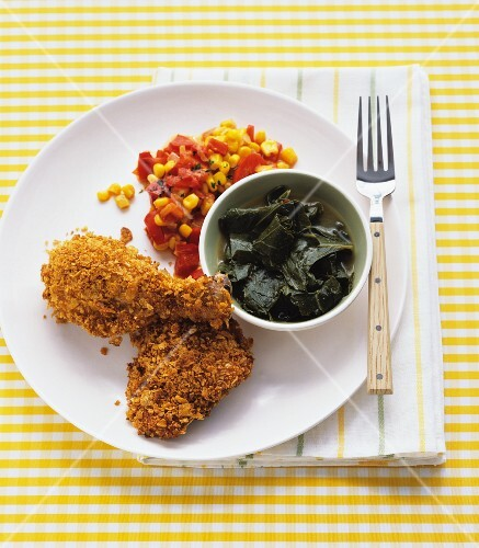 Chicken with a cornflake crust and a side of corn