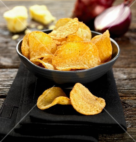 A bowl of cheese and onion crisps
