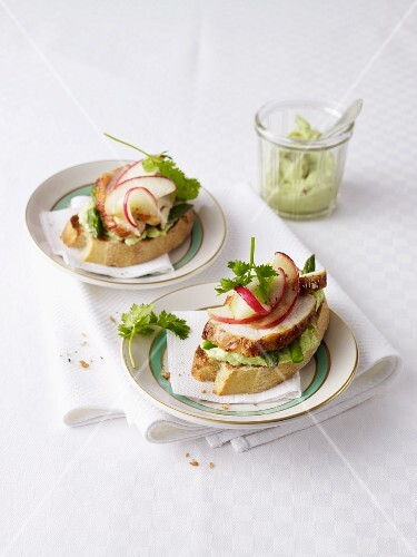 Toast topped with chicken, guacamole and apple