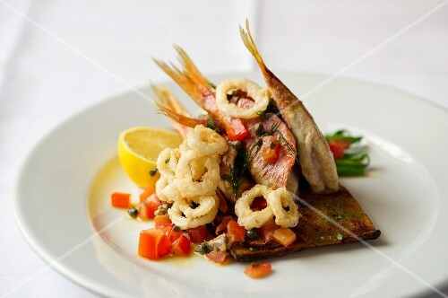 Red snapper with fried calamari