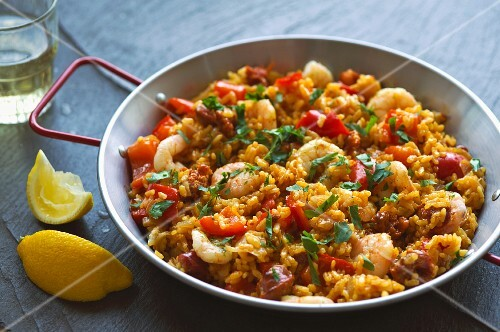 Paella with chorizo and king prawns