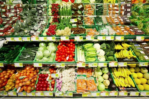 Fruit and vegetable display in a supermarket