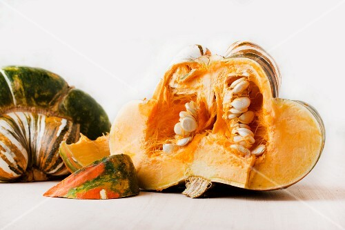 A sliced turban squash