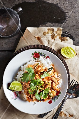 Pa-nang-moo (pork curry with kaffir limes and coriander, Thailand)