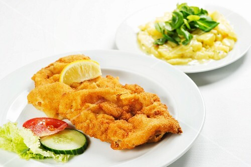 Wienerschnitzel (breaded veal escalope from Vienna) with potato salad
