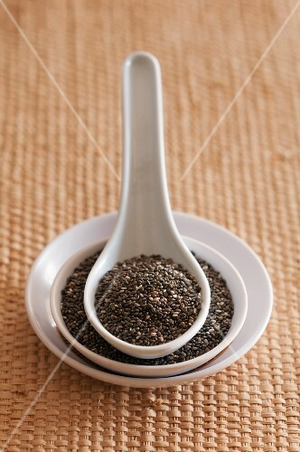 Chia seeds on a plate and in an Oriental spoon