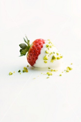 A strawberry dipped in white chocolate