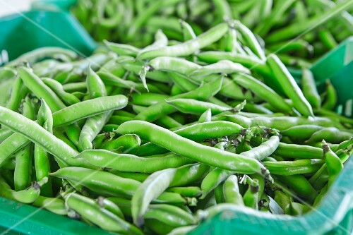 Fresh pea pods in a cardboard dish on a market stand