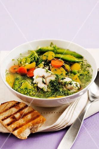Vegetable soup with Romanesco cauliflower and fish