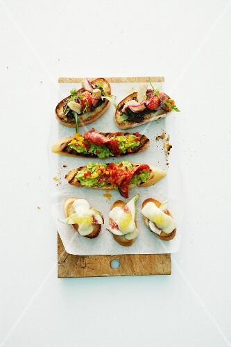 Colourful crostini for a party