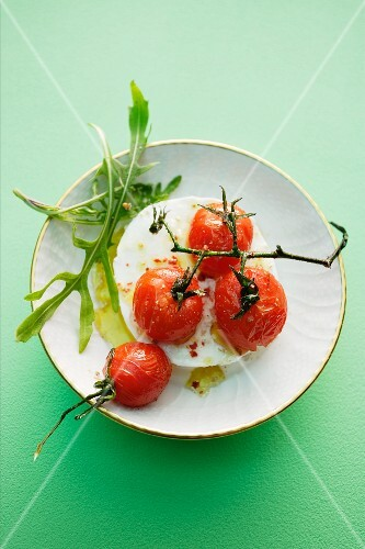 Buffalo mozzarella with caramelised vine tomatoes