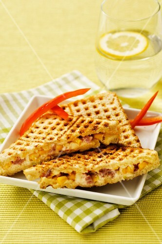 A grilled ham and sweetcorn sandwich
