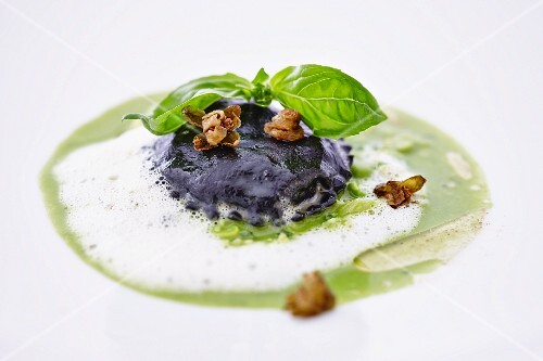 Squid ravioli with basil pesto
