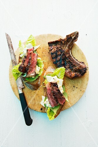 Barbecue sandwiches with beefsteak and lettuce