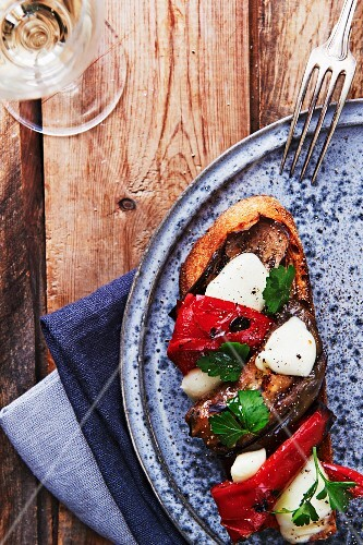 Tartine with grilled vegetables and mozzarella cheese
