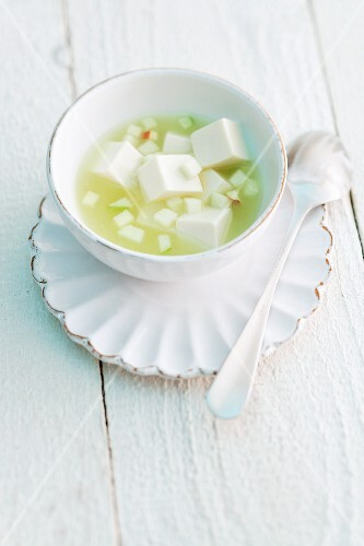 Apple soup with yogurt dumplings
