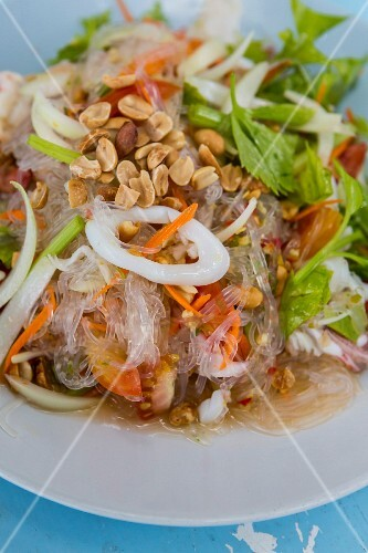 Yam Wun Sen (glass noodle salad with roasted peanuts, Thailand)