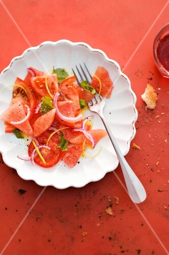 Tomato, grapefruit and watermelon salad
