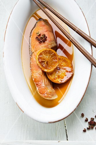 Steamed salmon with soy sauce and yuzu