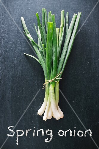 Spring onions on a chalkboard above the words 'spring onion'