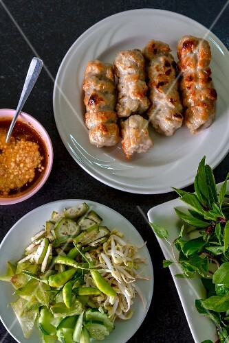 Minced Vietnamese pork rolls and vegetables
