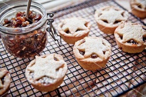 Mince pies on a wire rack