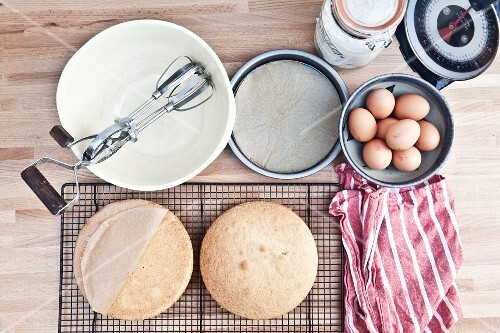 A bird's-eye view of utensils and ingredients for making sponge cake