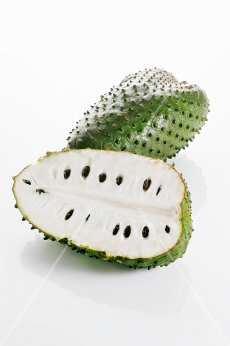 Soursop, whole and halved
