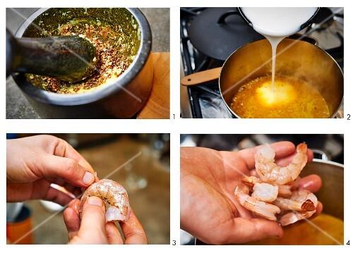 Laksa with prawns being made