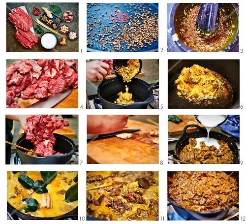 Beef Rendang from Sumatra being made