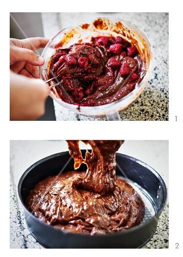 Chocolate brownie tart with raspberries being made