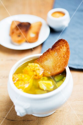 Bouillabaisse with toast and rouille
