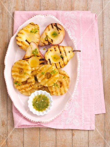 Grilled pears and pineapple