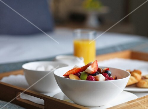 A breakfast tray in a hotel room