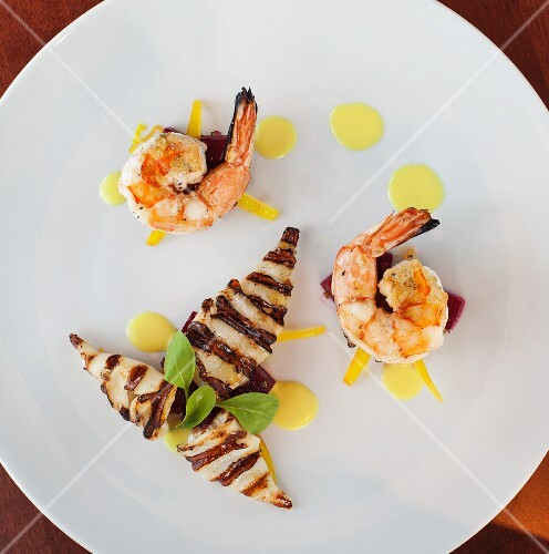 Prawn and grilled squid appetisers