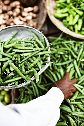Peas and ginger at a market in Mumbai, India