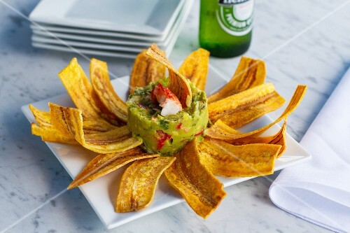 Guacamole with lobster and plantain chips