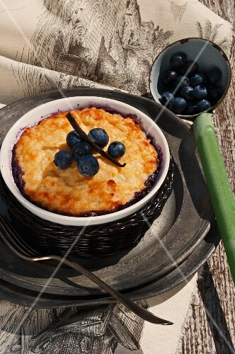 Rice pudding cake with blueberries